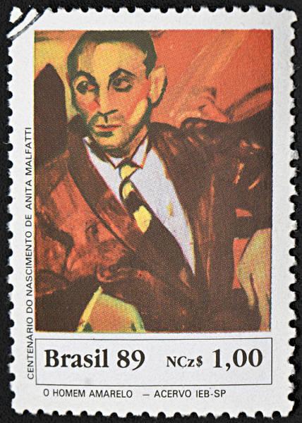 Selo com representação do quadro O homem amarelo, de Anita Malfatti, grande artista do Modernismo brasileiro. [1]