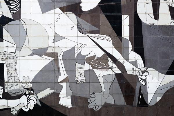 Detalhe do mural Guernica, de Pablo Picasso, 1937.