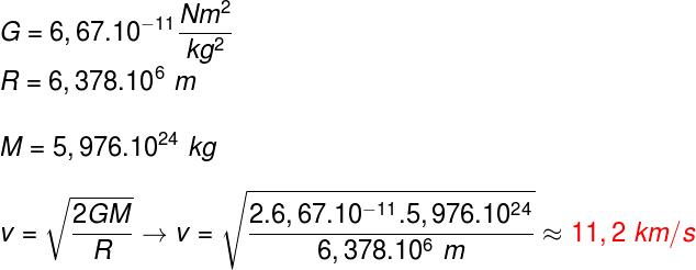 Para fazermos esse cálculo, usamos a massa da Terra (M) e o raio da Terra (R)