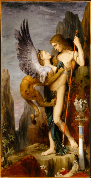 Édipo e a esfinge em pintura de Gustave Moreau.