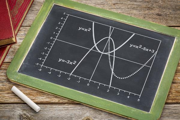 A função quadrática forma uma parábola em um plano cartesiano.