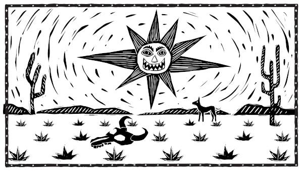 A aridez do vasto sertão nordestino e a ossada no chão repetem a lembrança constante de Severino: a morte.