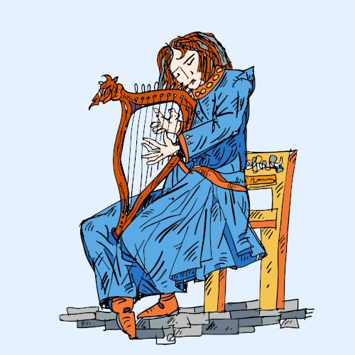 Trovador tocando uma lira, instrumento musical que deu o nome ao gênero lírico.
