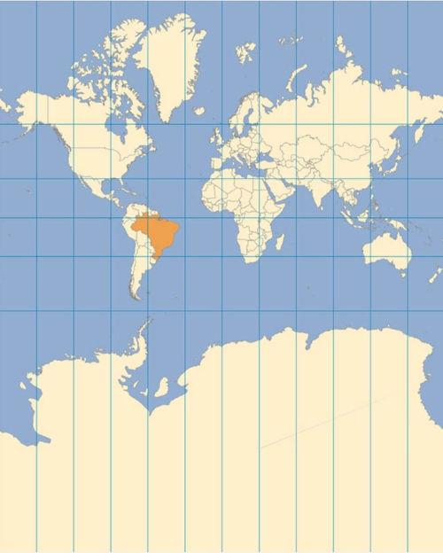 A projeção de Mercator possui uma visão eurocêntrica de mundo.