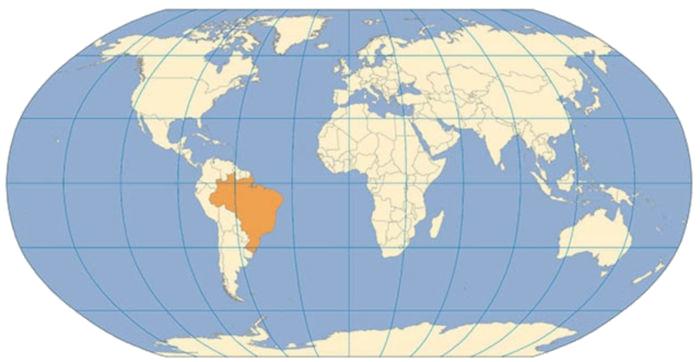 Projeção de Robinson é considerada a melhor projeção para representar os continentes.