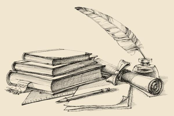 Desenho de livros, papel, tinta e pena, símbolos que evocam o fazer literário.