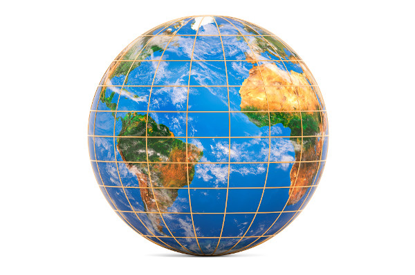 Representação das linhas imaginárias que cruzam o planeta, paralelos e meridianos.