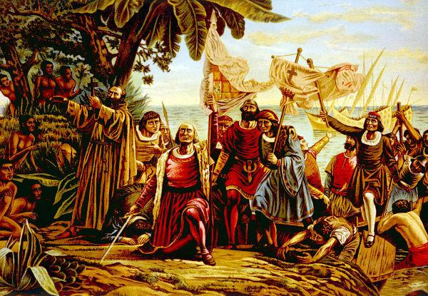 Em 12 de outubro de 1492, Colombo desembarcou na ilha de San Salvador (chamada de Guanahani pelos nativos).