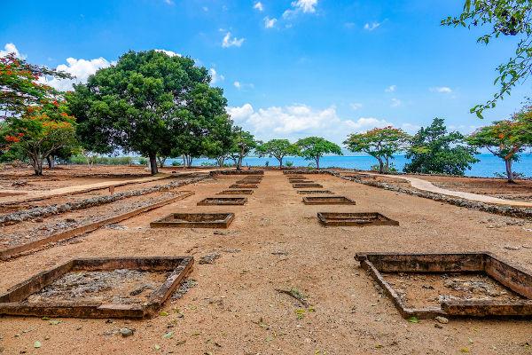 Ruínas de La Isabela, o segundo assentamento fundado por Cristóvão Colombo em Hispaniola.