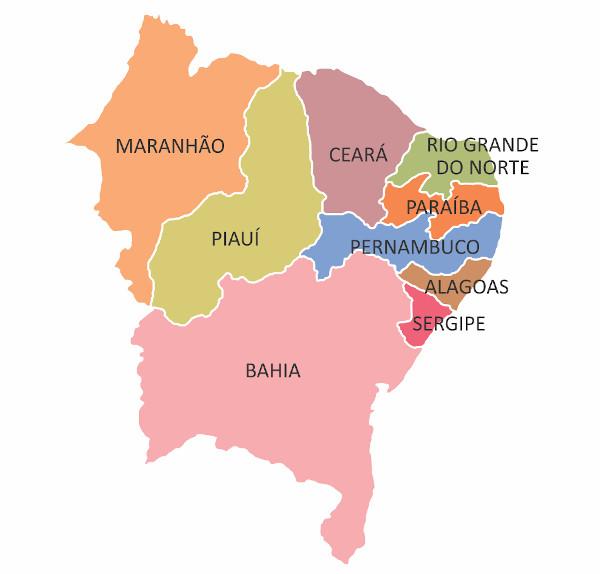 Mapa da região Nordeste.