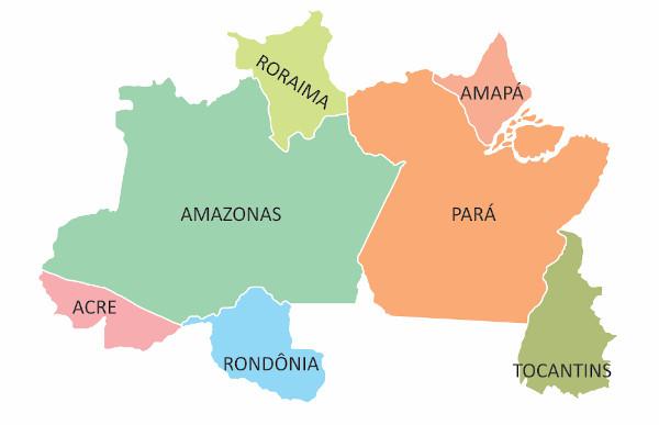 Mapa da região Norte.