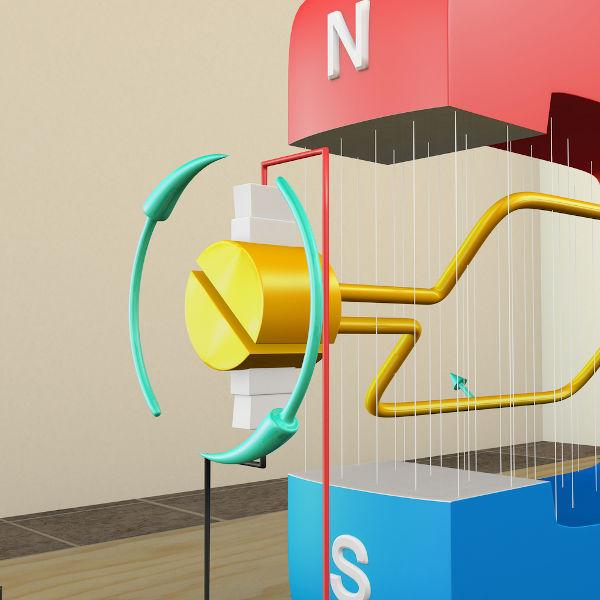 A figura mostra um gerador AC. A rotação da bobina produz uma corrente alternada.