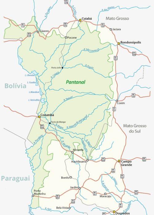 Área de ocorrência do Pantanal.