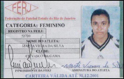 Registro de Marta na Federação de Futebol Estado do Rio de Janeiro (FERJ) [2]