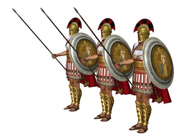 Representação de soldados gregos que lutaram nas Guerras Médicas e na Guerra do Peloponeso.