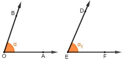 Os ângulos AÔB e DÊF são congruentes.