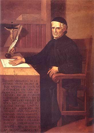 Retrato de Padre Antônio Vieira em óleo sobre tela de artista desconhecido, feito no início do século XVIII.