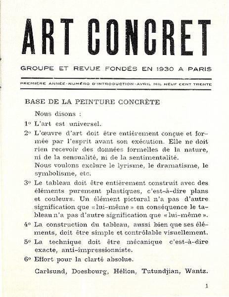 Manifesto da Arte Concreta, publicado na revista Art Concret, Paris, em 1930.
