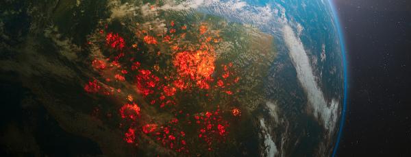 Vista espacial de queimadas na América do Sul