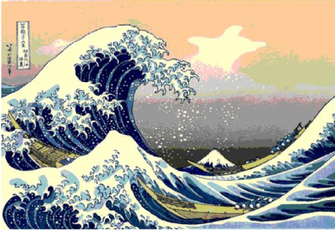 Uma das 33 gravuras da série Fuji, elaboradas entre 1823 e 1829, mostra um tsunami.