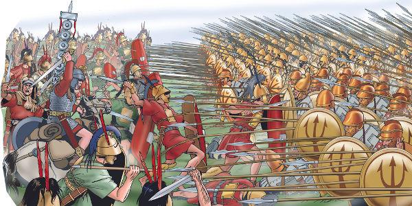 As tropas gregas organizavam-se militarmente da forma como o grupo, à direita, na imagem. Essa formação é conhecida como falange.