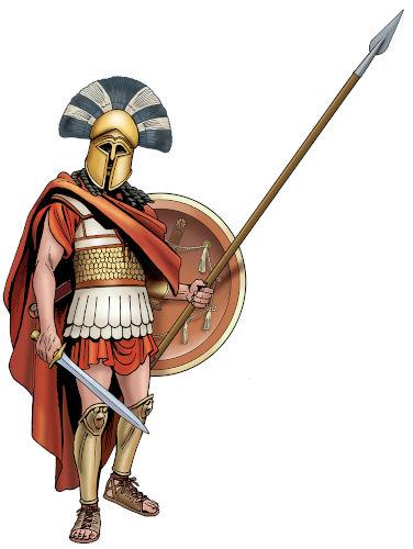 Modelo da vestimenta de guerra que um soldado espartano usava na Guerra do Peloponeso.
