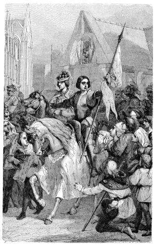 A coroação de Carlos VII em Reims só foi possível porque Joana d'Arc liderou a conquista dessa cidade.