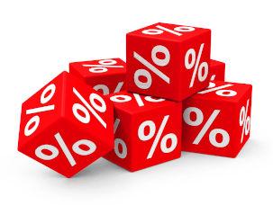 cubos vermelhos com símbolo de porcentagem