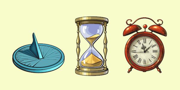 O relógio de sol, a ampulheta e o relógio são alguns instrumentos utilizados para medir-se o tempo.