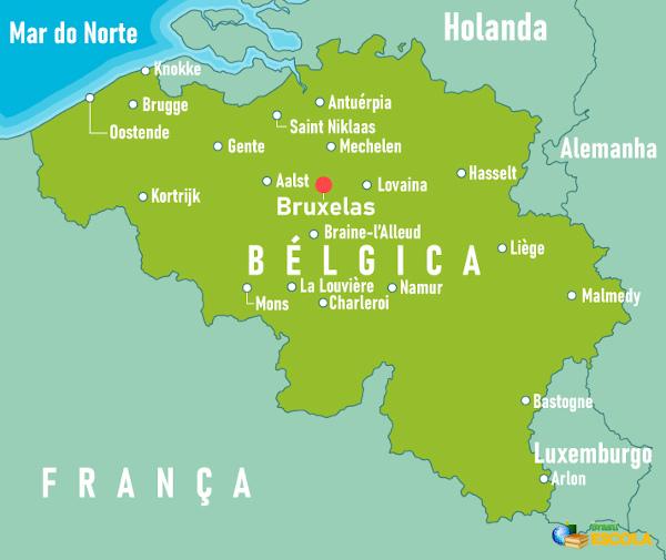 Localização da Bélgica.