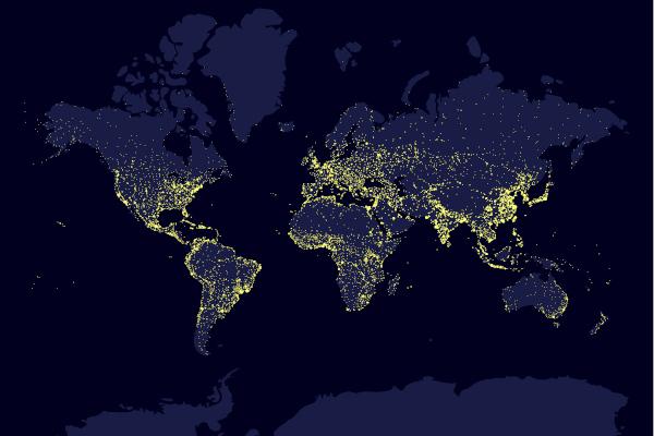 Mapa com a densidade demográfica mundial. Localidades com luzes mais brilhantes são as mais povoadas.