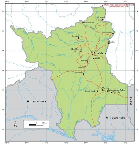 Representação do estado de Roraima. Fonte: IBGE.