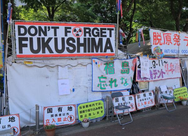 """No cartaz principal, """"Não esqueça Fukushima"""". O terremoto de 2011 ocasionou um dos piores acidentes nucleares da história e levantou intensos debates a respeito do uso da energia nuclear."""