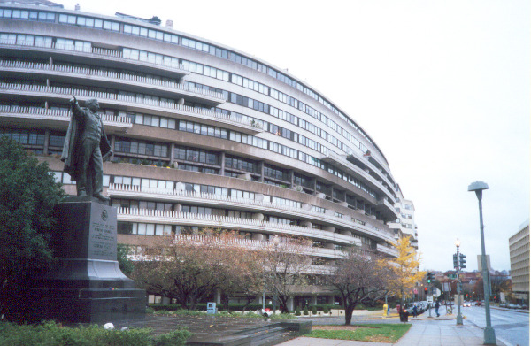 Complexo de Watergate, em Washington, onde ficava a sede do Partido Democrata e onde aconteceu a espionagem que derrubou Nixon.