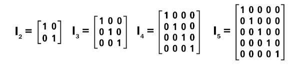 Matrizes identidade de ordem 2 até a ordem 5