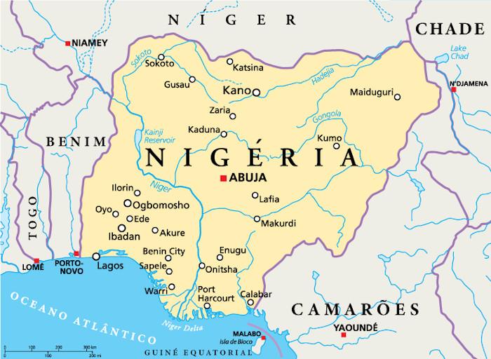 Mapa da Nigéria.