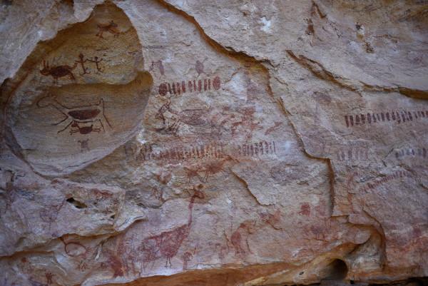 Registros rupestres no Parque da Serra da Capivara, no Piauí.