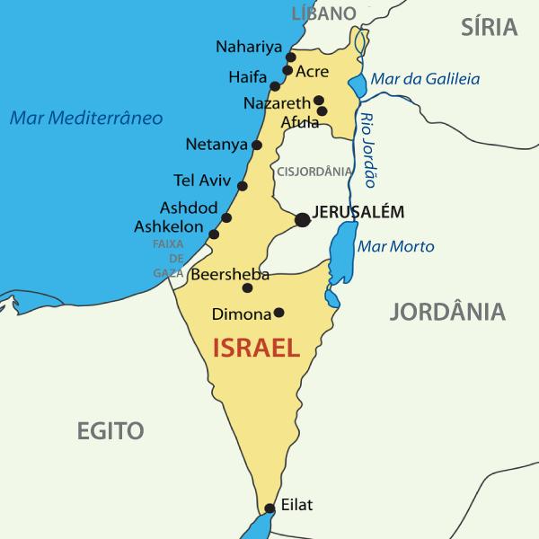 Mapa atual do Estado de Israel.