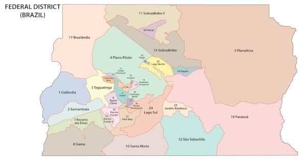 Distrito Federal e as suas regiões administrativas.
