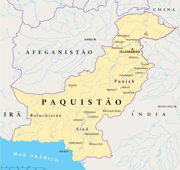 Localização do Paquistão.