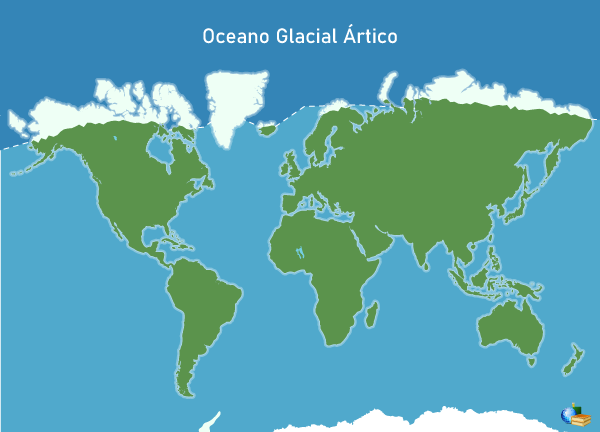 Posição do Oceano Ártico no globo em azul-escuro.
