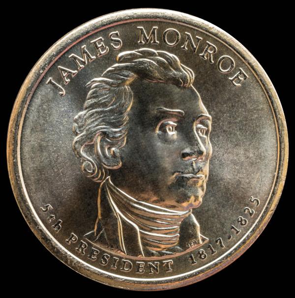 Moeda de 1 dólar americano com o rosto de James Monroe, quinto presidente dos Estados Unidos.