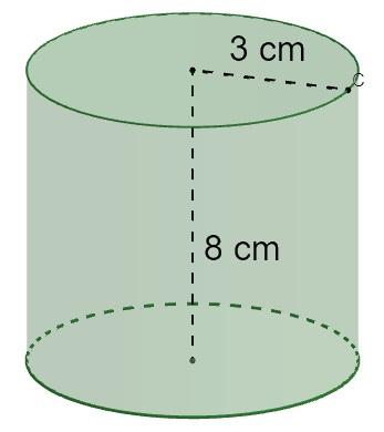 Cilindro de altura medindo 8 cm e raio medindo 3 cm.