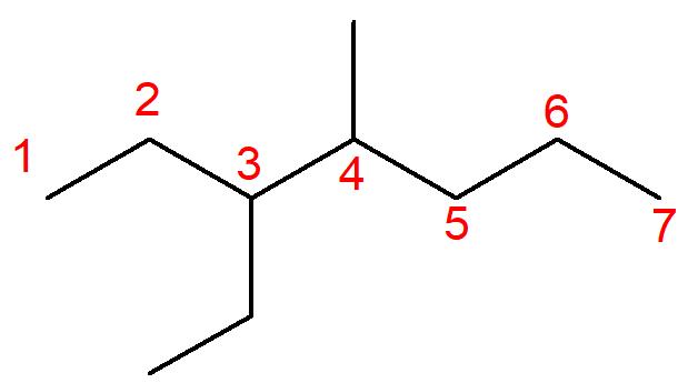 Molécula do 3-etil-4-metil-heptano.
