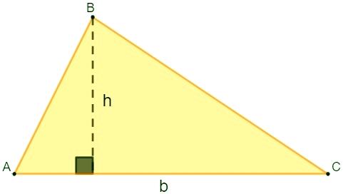 Exemplo de triângulo retângulo de lados a, b e c, além de altura h, para demonstrar a fórmula da área.
