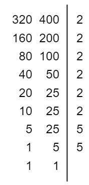 Cálculo do MDC entre 320 e 400