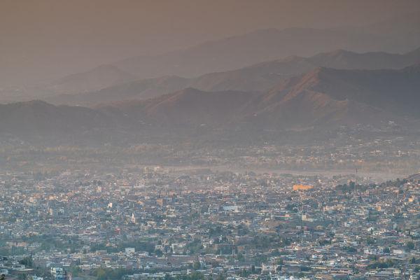 Foto panorâmica de Mingora, no Paquistão.
