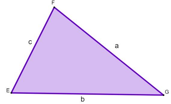 Triângulo de lados a, b e c para demonstrar a fórmula do perímetro