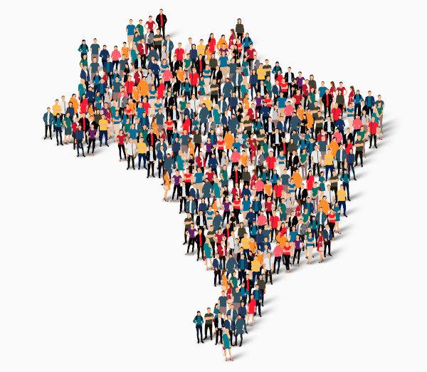 Ilustração de pessoas formando a silhueta do Brasil.