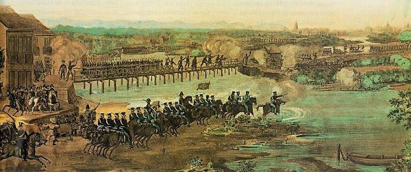 As tropas imperiais lutando contra os participantes da Confederação do Equador.
